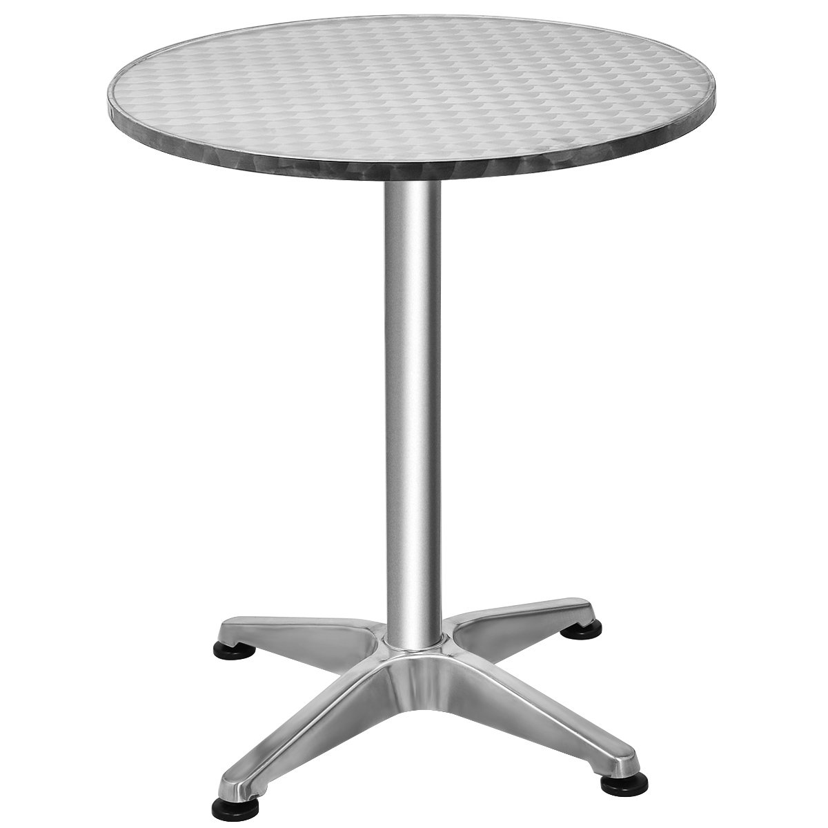 Giantex Aluminium Bistro Bar Table Round Top Indoor-Outdoor Bistro Pub w/Base, Silver
