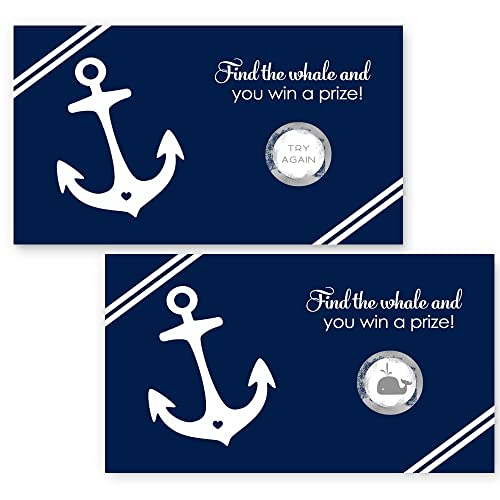 nautical scratch off card party game navy and white 28 pack