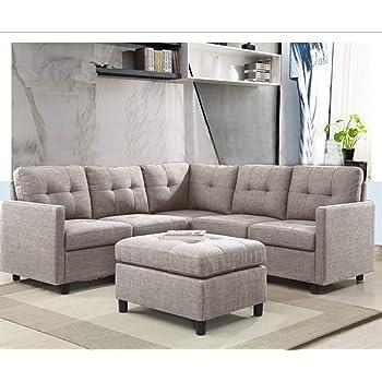 OuchTek 6 Piece L Shape Modular Sectional Sofa Assemble, Left U0026 Right Arm