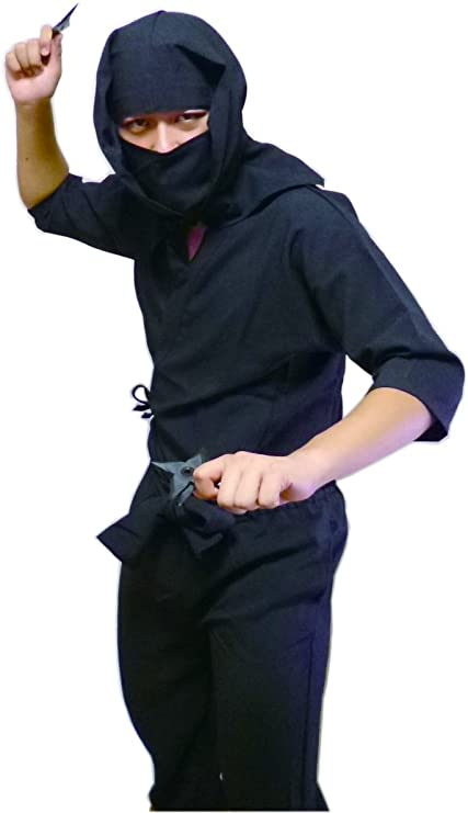 Smiles Japan: Martial Arts Black Ninja Uniform Suit / Costume for Adults