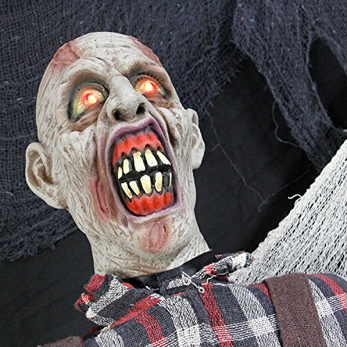 Halloween Haunters Life Size Stand Up Farmer Zombie Animated Rocking Moving Torso Prop Decoration – Red Light Up Eyes – Dead Body, Brain – Battery Operated