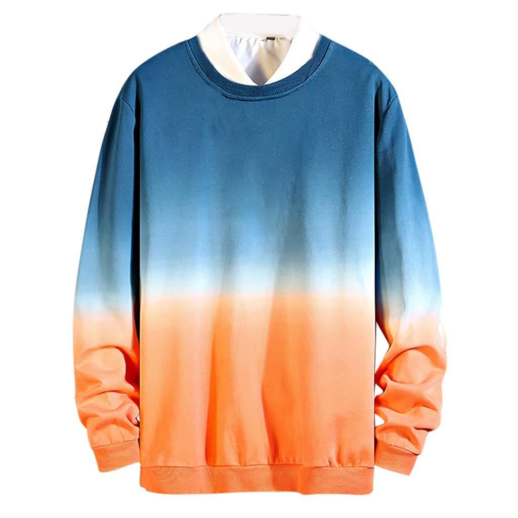 Men's Crewneck Sweatshirt, Fashion Boys Gradient Long Sleeve Pullover Guard Blouse Casual Classic Outwear (Medium, Blue)