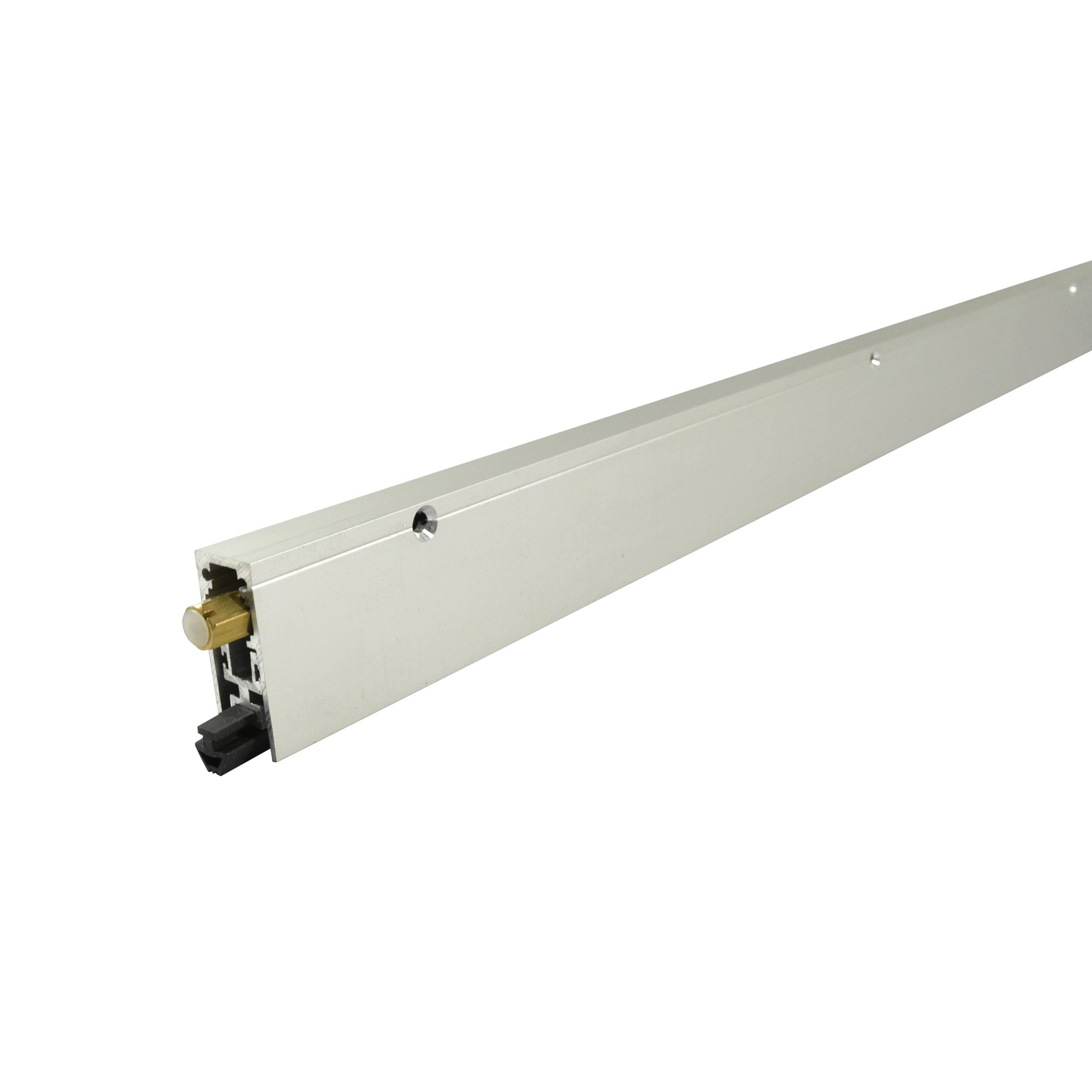 Fire Rated/Regular Duty/Clear Anodized Aluminum/Surface Automatic Door Bottom with Solid Rubber Extrusion (7153CA), SMS # 6 x 1 1/4'' Supplied, (11/16'' W x 1-25/32'' H x 36''L)