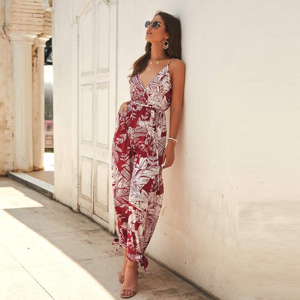 Selomore Leaf Print Jumpsuit Women Halter Sleeveless Long Pants Casual Jumpsuit Rompers