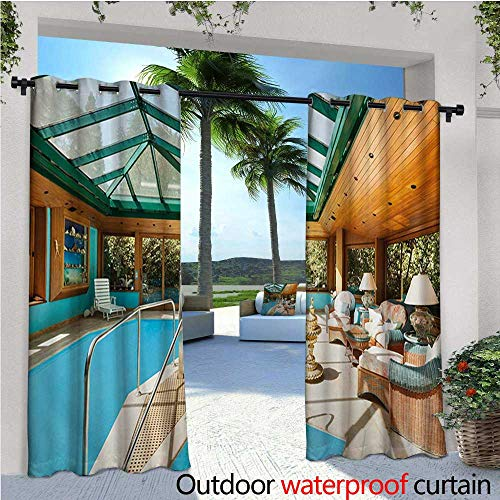 homehot Modern Exterior/Outside Curtains Residential House Large Indoor Pool Furniture Sunrays Leisure Time Print for Patio Light Block Heat Out Water Proof Drape W120 x L84 Green Pale Brown Blue