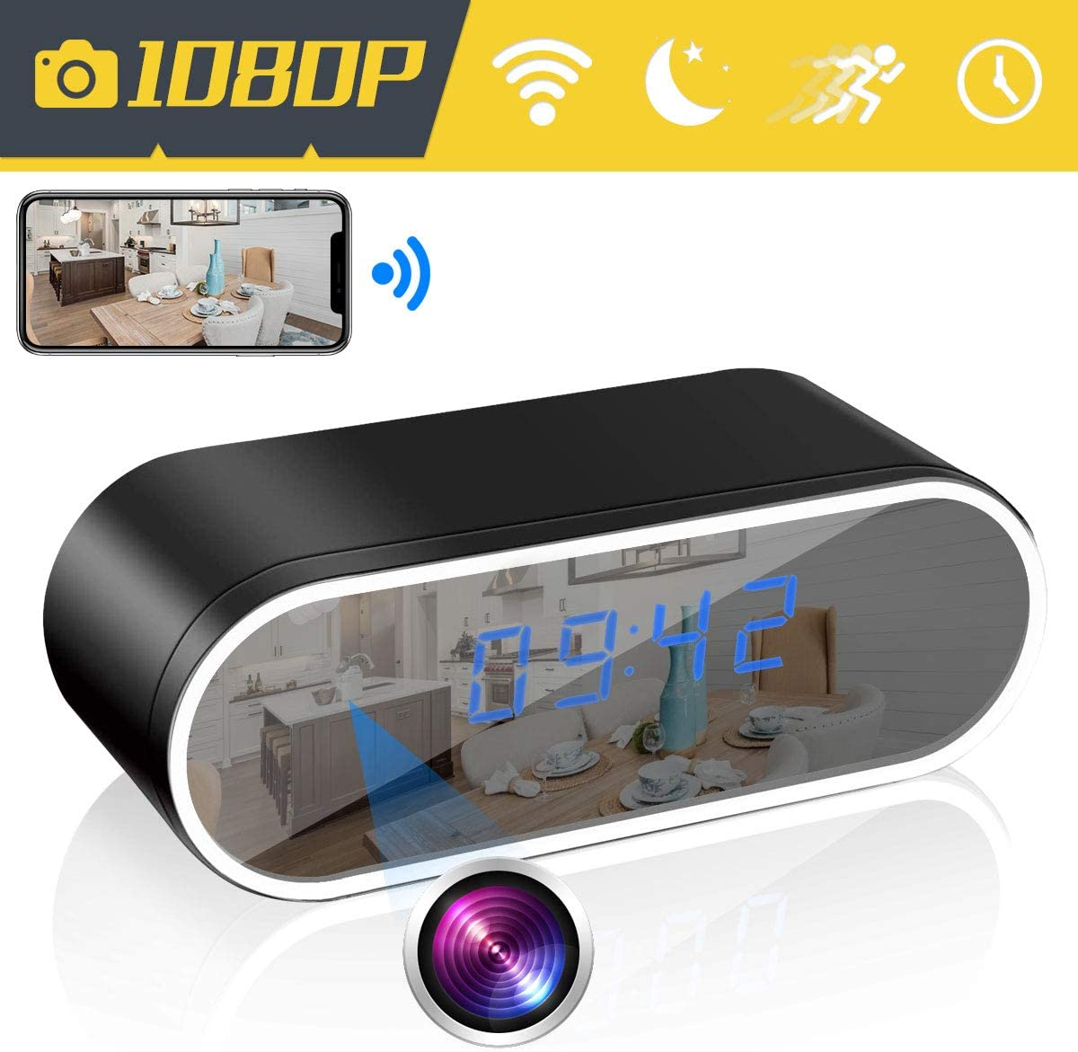 WiFi Hidden Camera Alarm Clock Camera, AMCSXH HD 1080P Spy Camera Security for Home and Office with Motion Detection/Loop Recording, Night Vision, Remote Real-time Video, Video only