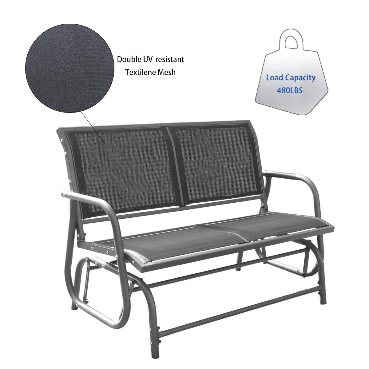 Yardeen Porch Swing Glider Chair Loveseat Rocking Bench Garden Seating, Double Grey Mesh