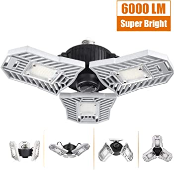 Mopzlink 60-watt Standard LED Garage Ceiling Light with 3 Adjustable Panels