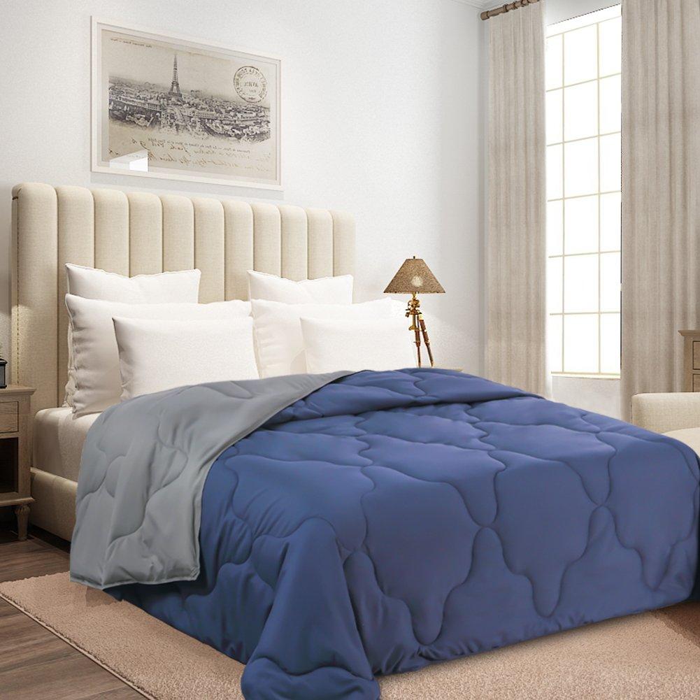 Ancaixin Comforter Lightweight Washable Down Alternative Duvet Set Quilt Insert with Corner Duvet Tabs for Spring Summer Autumn Navy Blue/Grey, Queen Size