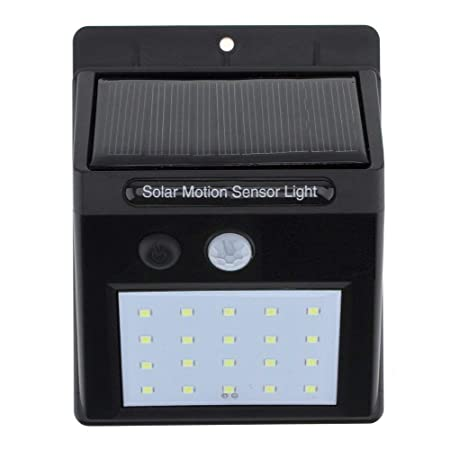 KVI Bright Waterproof Solar Wireless Security Motion Sensor LED Night Light for Outdoor/Garden Wall (Black) - Set of 20