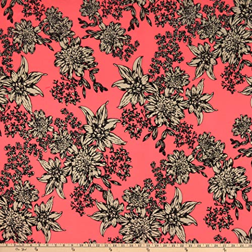 - Fabric Double Brushed Poly Jersey Knit Floral Neon Pink Fabric by the Yard