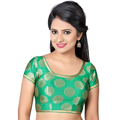 350e28b73e12b Amazon.com  Bollywood Blouses Women s Designer Readymade Back Open Artistic  Print Zari Border Saree Blouse Medium Green  Clothing