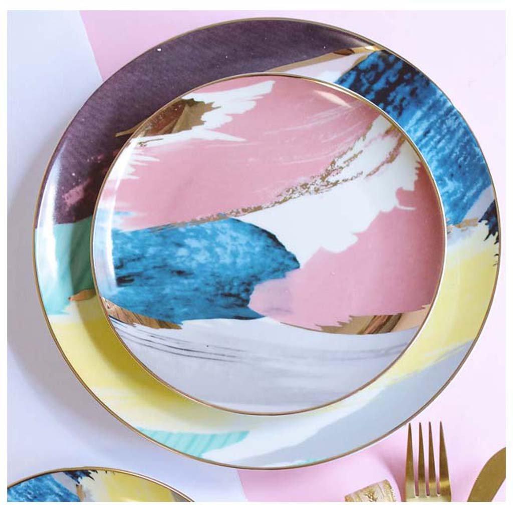 小型陶器 北欧風 金色 セラミックプレート ディスクホームデコレーションプレート 野菜皿 朝食プレート フラットプレート B07JFRKN7D Parent