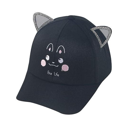 4e77744f4ca03b Baby Cartoon Hats, Boys Girls Cat Print Pearls Peaked Sports Baseball Cap  Outdoor Beach Anti