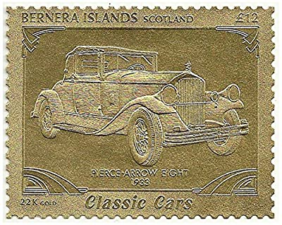 Classic car stamp in 22k gold foil issued in 1996 Bernara Islands, Scotland / Mint and unmounted