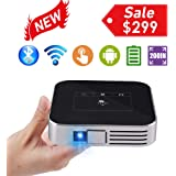 Mini Video Projector HD Portable Projector WiFi Bluetooth Support 1080P Max200 DLP Video Projector Built in Battery 4000mAh Android System for Home Theater Entertainment