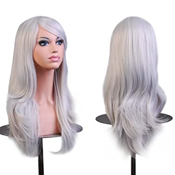 Amazon.com   Silver Grey Cosplay Wigs 28 inch Long Big Wavy Curly Hair Ends Halloween  Costume Cosplay Party Heat Resistance Wigs for Women With Full Bangs ... 64b7cce99