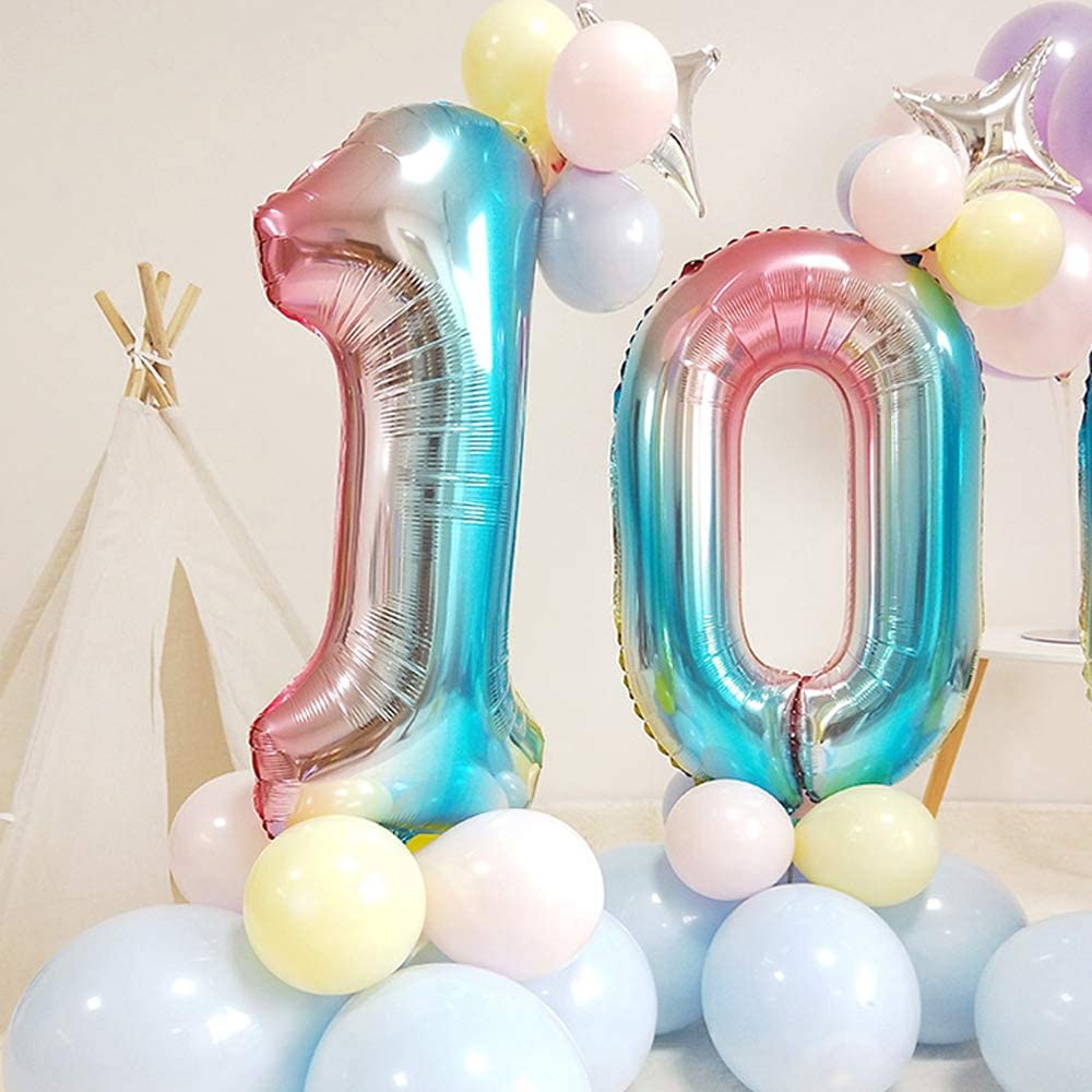 SNOWZAN XL Zahlen Ballon Nummer 10.Luftballon Regenbogen M/ädchen Junge Luftballons Zahl 10.Geburtstag Deko Blau Rose Bunt Schillernde 10 Jahre FolienBallon 32 zoll Riesen Helium Happy Birthday Party