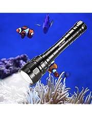 Volador Lampe de Plongée, 3100 Lumen Phare de Plongee 3* CREE XPL LED Lampe de Poche sous-Marine 100 Mètres Plongée Torche avec 2X 18650 Batterie et Chargeur