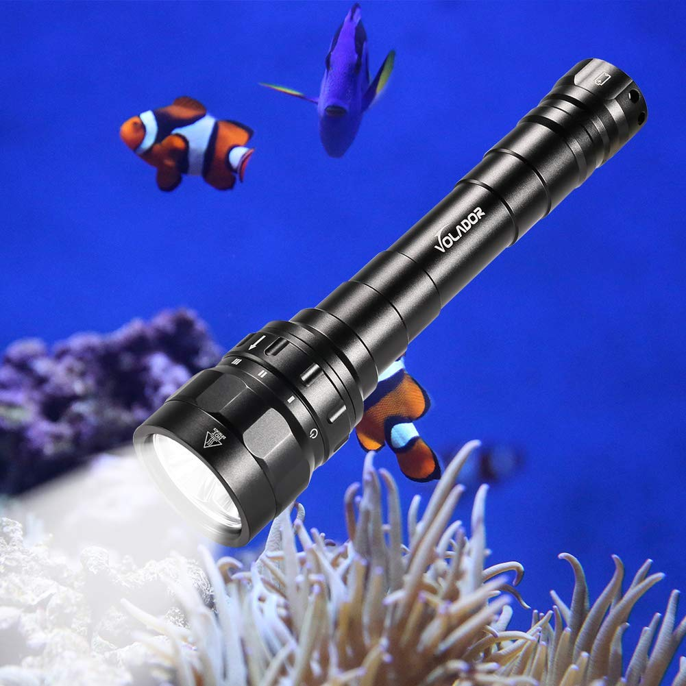 Underwater Flashlight, VOLADOR 3 CREE XPL LED 3100lm Professional Rechargeable Diving Light, Waterproof Dive Lamp for Scuba Night Dive with Battery and Charger by VOLADOR