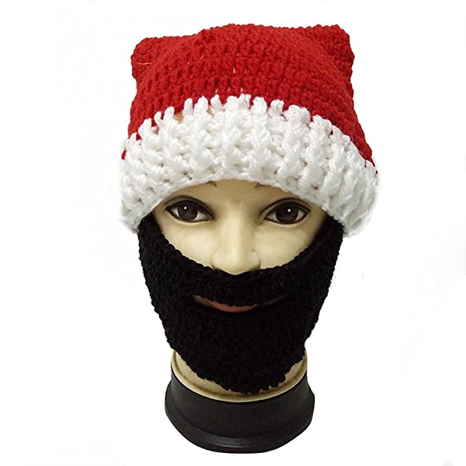 7e3e9066bd0 BIBITIME Christmas Knitted Crochet Santa Beanie Hat with Retractable Beard  Mask (One Size