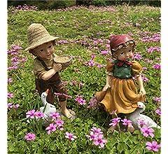 BRTTHYE Figuras de jardín de Resina para niña y niño Adornos de decoración de Patio de casa, 22 cm / 24 cm 2 Piezas niño y niña: Amazon.es: Hogar