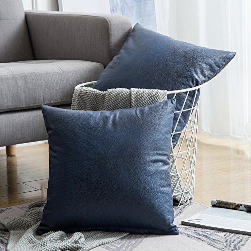 MIULEE Pack of 2 Decorative Faux Leather Modern Pillow Cover Square Luxury Cushion Case Durable Throw Pillow Cover Shell for Couch Sofa Bed Living Room 18x18 Inch Navy Blue