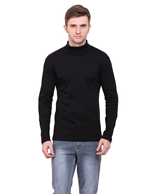 416a1948b81 LE BOURGEOIS Black Color high Neck Full Sleeve Men s t-Shirt  Amazon ...