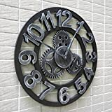 Handmade Oversized 3d Retro Rustic Decorative Luxury Art Big Gear Wooden Vintage Large Wall Clock on the Wall for Gift(Arabic numerals silver)