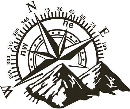 48x34cm Auto Aufkleber Berg Kompass Navigation Auto Aufkleber Kompass Tür Aufkleber Berghaube Auto Aufkleber Baumarkt