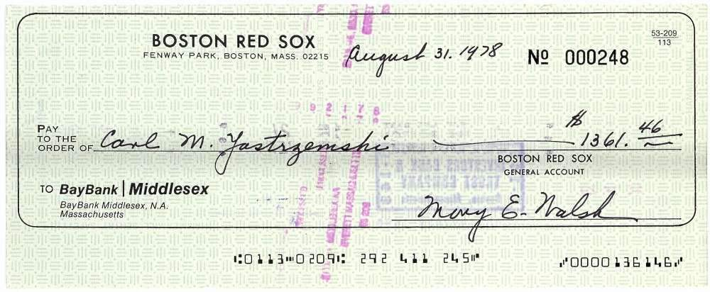 Carl Yastrzemski Signed Autographed 1978 Red Sox Payroll Bank Check Beckett BAS