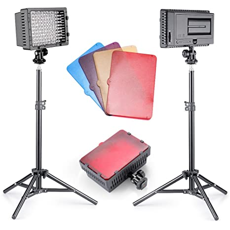 Neewer® 2 Piezas CN-160 Regulable Ultra Alta Potencia Panel LED luz de vídeo Kit de iluminación para fotografía para Canon, Nikon, Sony y Otras cámaras réflex Digitales: Amazon.es: Electrónica