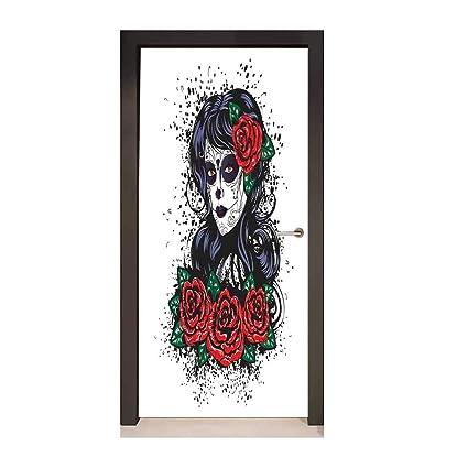 Skull Door Wallpaper Dead Hair Sugar Skull Lady With Roses