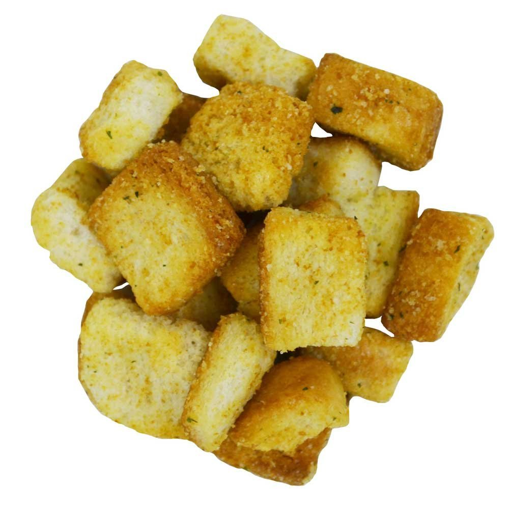 Homestyle Cheese and Garlic Croutons, 1 Ounce - 100 per case.