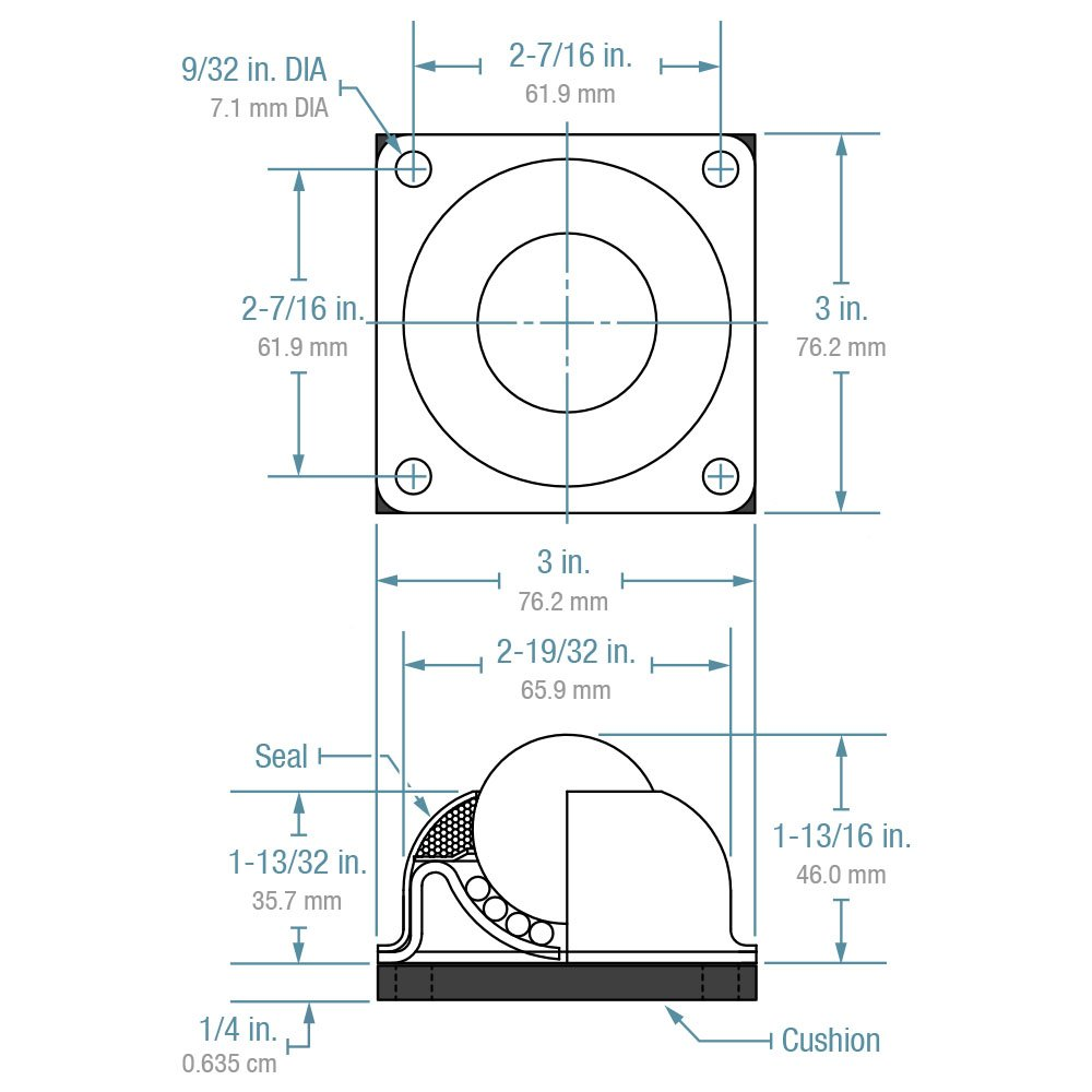 250 lbs Load Capacity Carbon Steel Hudson Bearings CBT-1-1//2 Four-Hole Neoprene Cushion Mounted Ball Transfer 1-1//2 Diameter Case of 4