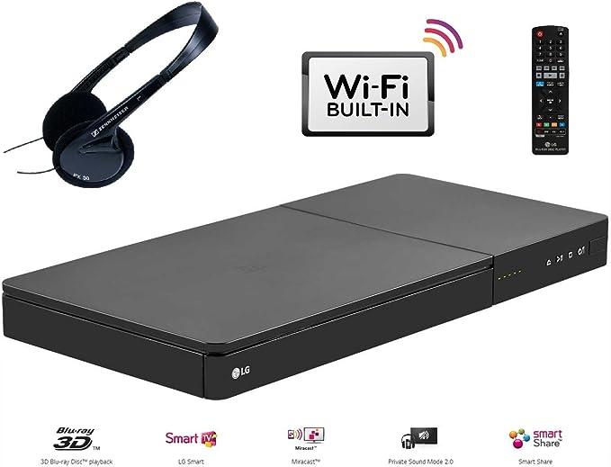 LG bp645 Smart Wi-Fi 3d – Reproductor de Blu-Ray (tamaño completo) con privado modo de sonido y miracast Bundle incluye auriculares Sennheiser de alta calidad: Amazon.es: Electrónica