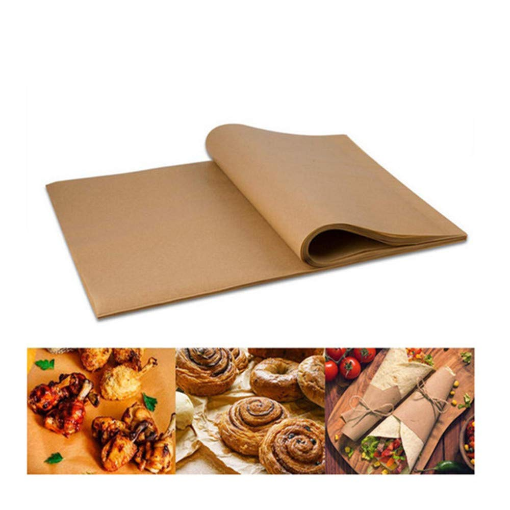 Angel 200 Pcs Barbecue Paper, Unbleached Parchment Paper for Baking, Not Curl or Burn, Barbecue, Suitable for Home Kitchens, Commercial Shops Use, Brown