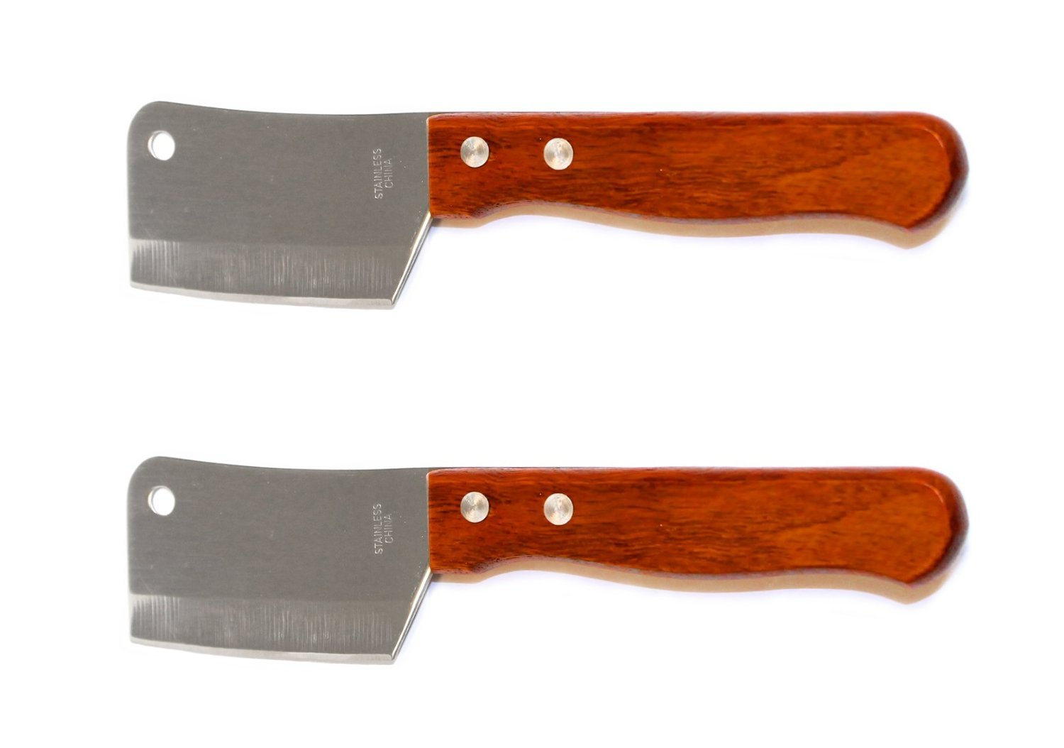 Set of 2 Mini Chop Knives, Cleaver Style Mini Chopping Knives, Stainless Steel Blade, Wood Handle