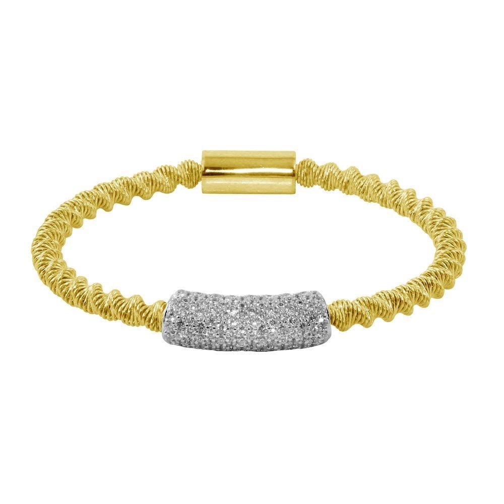 CloseoutWarehouse Clear Cubic Zirconia Designer Open Heart Bracelet Rhodium Plated Sterling Silver