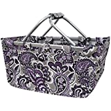 NGIL Purple Paisley Canvas Shopping, Market, Picnic Basket