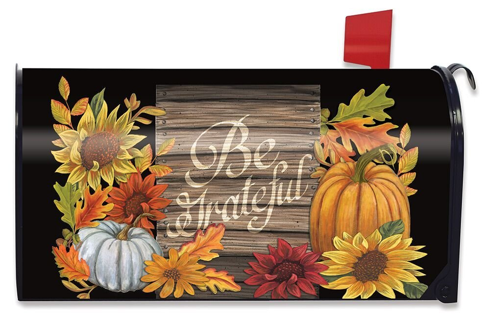 Briarwood Lane Be Grateful Autumn Magnetic Mailbox Cover Thanksgiving Floral Fall Standard