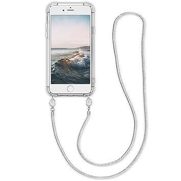 kwmobile Funda de Silicona para Apple iPhone 6 / 6S - Carcasa TPU Transparente - Case con cordón de Metal de 120CM