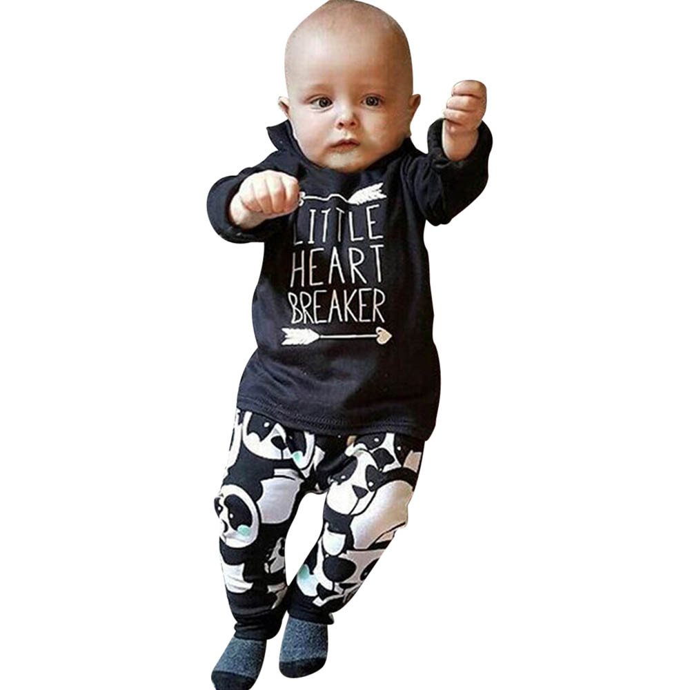 Pants Black Fashion Outfits Clothes Set 0-24M Kids Infant Baby Boy Long Sleeve Letter Crewneck Blouse Tops