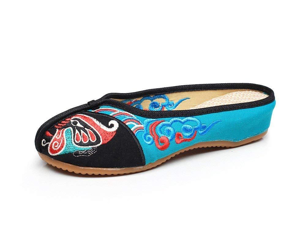 Bestickte Schuhe Sehnensohle ethnischer Stil weiblicher Flip Flop Mode Mode Mode Bequeme lässige Sandalen schwarz grün 37 (Farbe   - Größe   -) 81798a