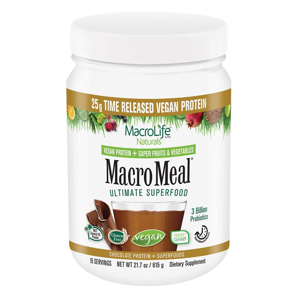 MacroLife Naturals MacroMeal Vegan Protein, Chocolate, 15 Servings