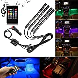 Car LED Strip Light, YougIka 4pcs 48 LED DC 12V Multicolor Music Car Interior Light LED Under Dash Lighting Kit with Sound Active Function and Wireless Remote Control, Car Charger Included