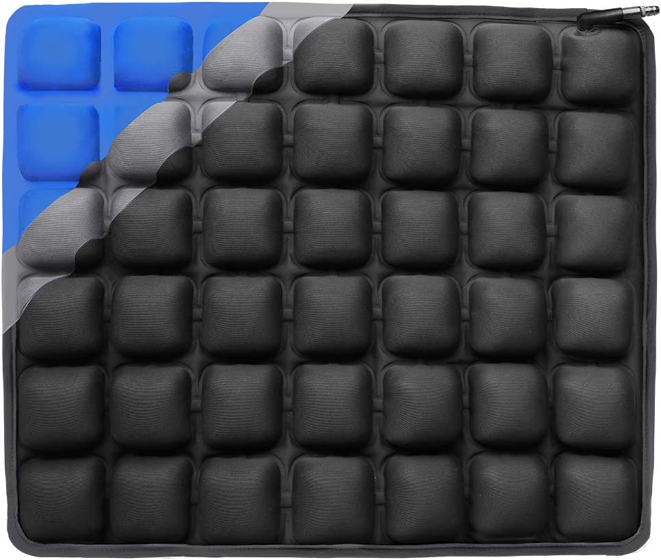 Haerniubi Water Seat Cushion Air Inflatable Chair Pad for Wheelchair, Office Chair, Cars, Home Living, Pressure Relief Pillow, Adjustable Volume Softness Cool Non-Slip Hip Protector Black