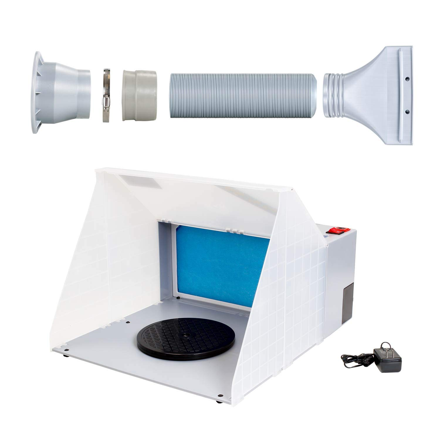 Master Airbrush Portable Hobby Airbrush Craft Spray Booth (Without Optional LED Lighting) for Painting All Art, Cake, Craft, Hobby, Nails, T-Shirts & More. Includes 5.6ft Exhaust Extension Hose