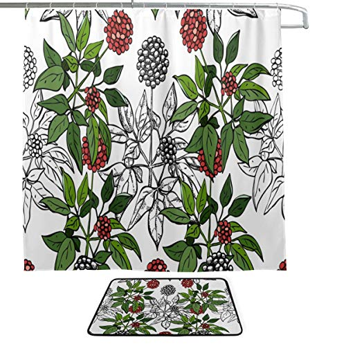 - DKGFNK Ginseng Medicinal Herbs Natural Single-Sided Printing Shower Curtain and Non-Slip Bath Mat Rug Floor Mat Combination Set with 12 Hooks for Bathroom Decor and Daily Use