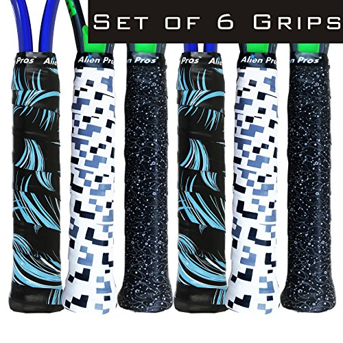 Alien Pros X-Tac Tennis Overgrip Tape perfect for your tennis racket, racquetball grip, pickleball paddle, squash racquet and more (Sailor, 6-Pack)